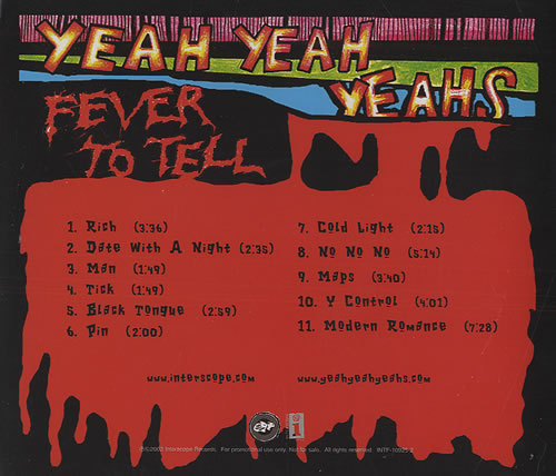 Yeah Yeah Yeahs Fever To Tell US Promo CD album (CDLP) Yeah Yeahs Maps Album on yeah huh, yeah well, ohh yeah, yeah clip art, yeah it was, yeah you know, yeah boy, ludacris yeah, yeah album cover, karen o yeah, yeah band, aw yeah, yeah buddy, yeah i know, uh yeah, yeah thank you,