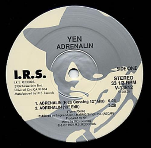 "Yen Adrenalin 12"" vinyl single (12 inch record / Maxi-single) US YEN12AD108240"