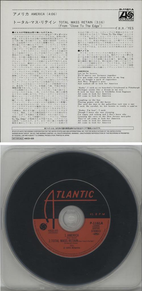 """Yes America CD single (CD5 / 5"""") Japanese YESC5AM238636"""