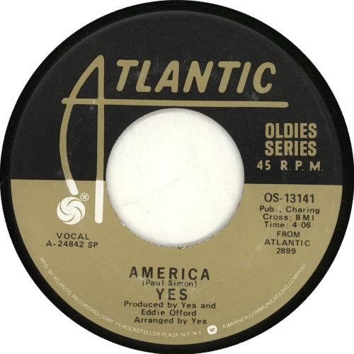 """Yes America 7"""" vinyl single (7 inch record) US YES07AM704734"""
