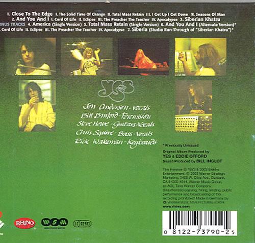 Yes Close To The Edge UK CD album (CDLP) (248014)