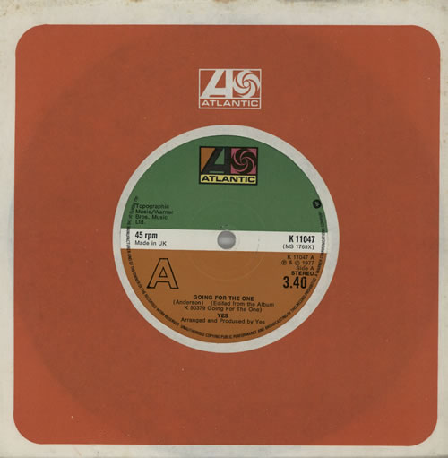 "Yes Going For The One - Solid 7"" vinyl single (7 inch record) UK YES07GO575311"