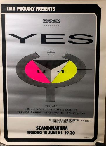 Yes Swedish Gig Poster 1984 poster Swedish YESPOSW722930
