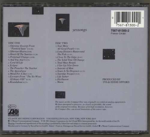 Yes Yessongs 2 CD album set (Double CD) German YES2CYE690850
