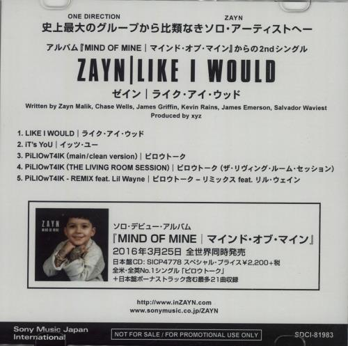 Zayn Malik Like I Would + Press Release CD-R acetate Japanese ZAYCRLI665094