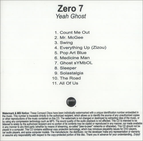 Zero 7 Yeah Ghost Us Promo Cd Album Cdlp 499058