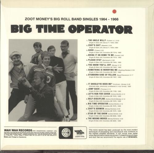 Zoot Money Big Time Operator: The Singles 1964-66 vinyl LP album (LP record) Spanish ZOOLPBI721364