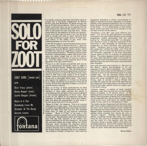 Zoot Sims Solo For Zoot vinyl LP album (LP record) UK ZA1LPSO668735