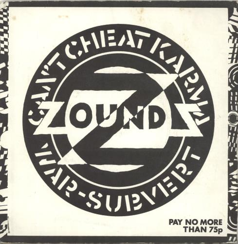 """Zounds Can't Cheat Karma - Stapled Sleeve + Poster 7"""" vinyl single (7 inch record) UK ZOU07CA615444"""
